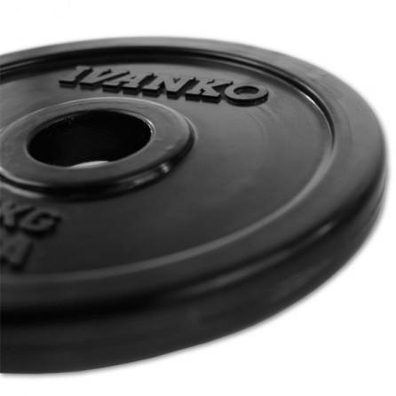 Disque Olympique Plein Caouthcouc Noir Ivanko RUBO-25 kg