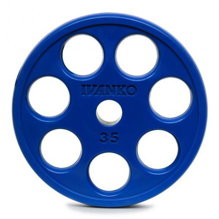 Disque Olympique Ivanko 7 Trous Caoutchouc Bleu ROEZH-20 kg