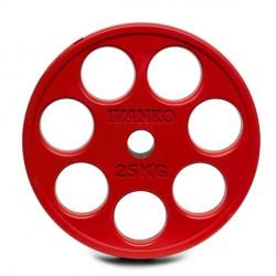 Disque Olympique 7 Trous Caoutchouc Rouge 25 kg